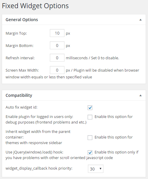 scrolling wordpress widget options