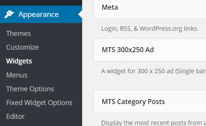 wordpress appearance widgets