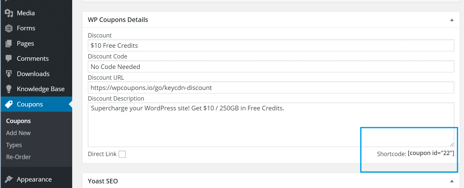 shortcode wp coupons