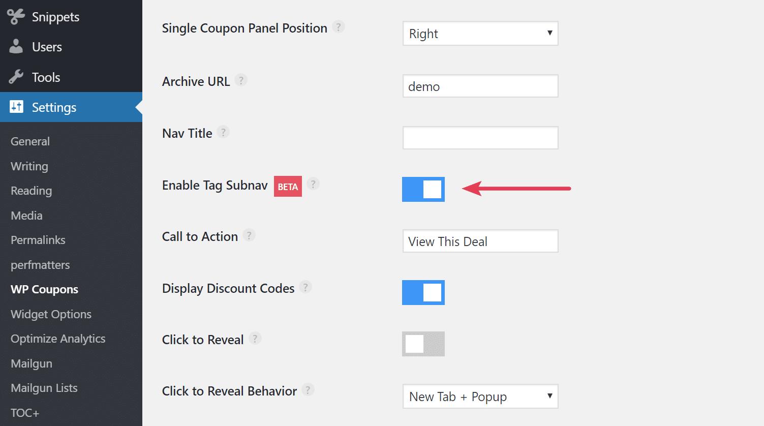 Enable tag sub-navigation menu