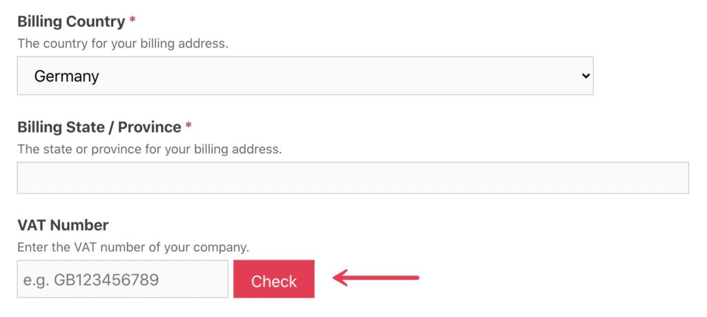 VAT number on checkout