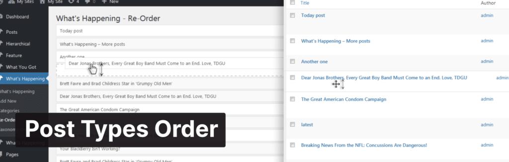 Post Types Order plugin